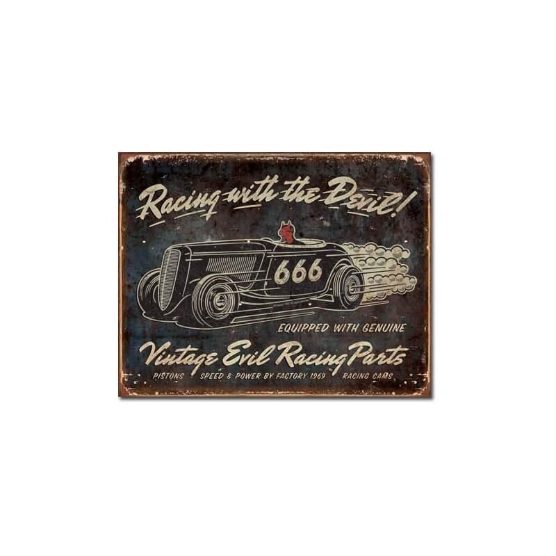 Plaque publicitaire evil racing vintage us way of life - Plaque publicitaire vintage ...
