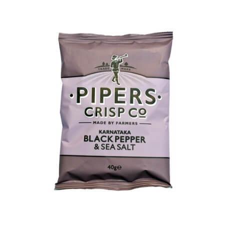 "Chips Anglais PIPERS goût poivre noir-sel de mer : "" Potatoes chips black pepper sea salt """
