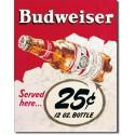 Plaque publicitaire métal Budweiser 25 cts