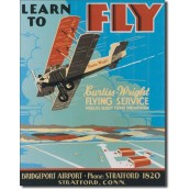 Plaque publicitaire métal avion learn to fly