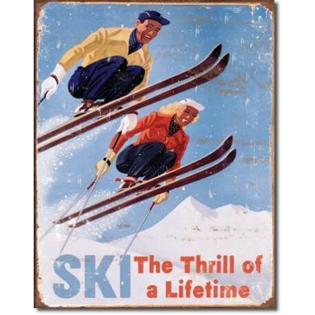Plaque publicitaire métal sport hiver USA