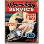 "Plaque publicitaire métal vintage pin up USA ""dependable service"""
