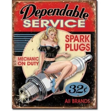 """Plaque publicitaire métal vintage pin up USA """"dependable service"""""""