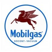 Plaque publicitaire métal ronde  Mobil gas socony