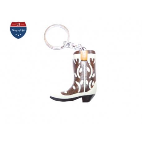 Porte clef botte de cowboy en bois