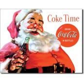 Plaque publicitaire métal coca cola père noël