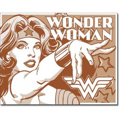 Plaque publicitaire métal Wonder Woman vieillie