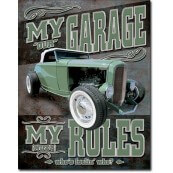 Plaque publicitaire métal my garage hot rod
