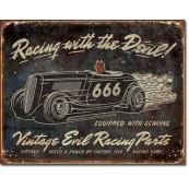 Plaque publicitaire métal evil racing vintage