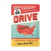 Plaque publicitaire métal route 66 drive