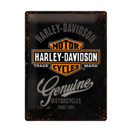 plaque publicitaire harley davidson genuine us way of life. Black Bedroom Furniture Sets. Home Design Ideas