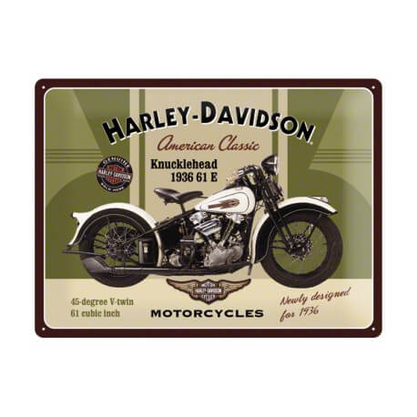plaque publicitaire harley davidson knucklehead us way of life. Black Bedroom Furniture Sets. Home Design Ideas