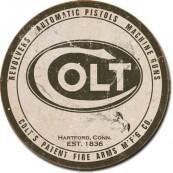 Plaque publicitaire métal ronde colt
