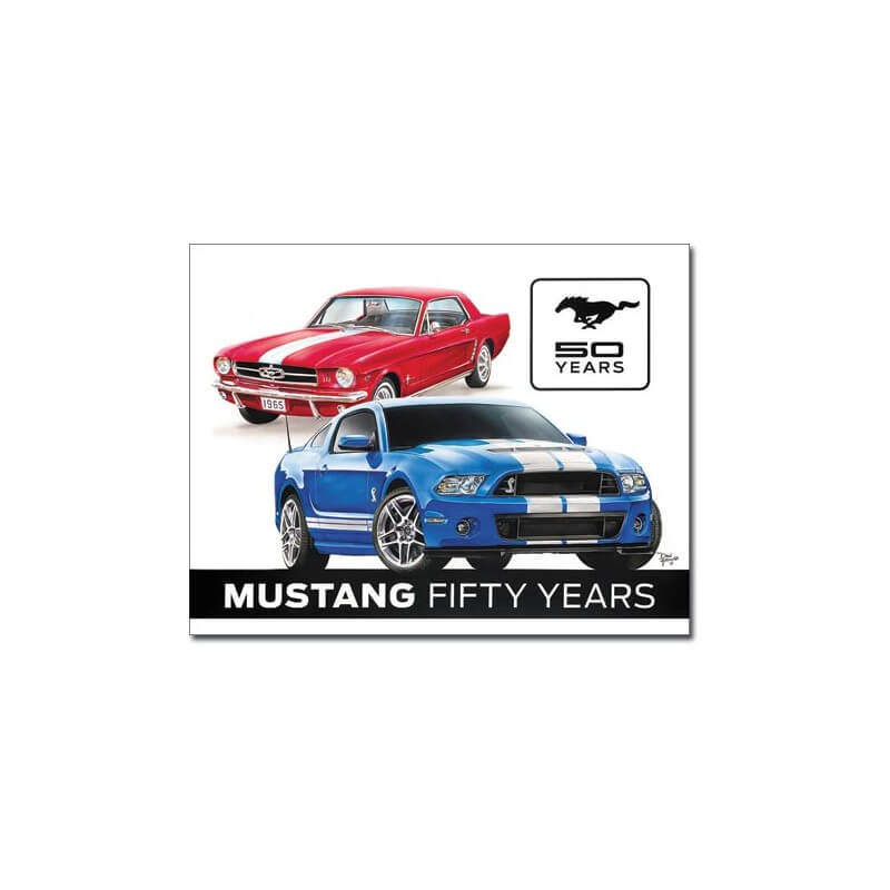 plaque publicitaire ford mustang fifty years us way of life. Black Bedroom Furniture Sets. Home Design Ideas
