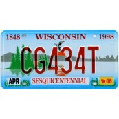 Plaque d'immatriculation Wisconsin Sesquicentennial
