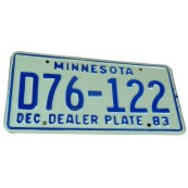 Plaque d'immatriculation Authentique Minnesota Dealer