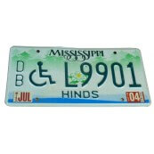 Plaque d'immatriculation Authentique Mississippi Hinds