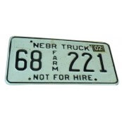 Plaque d'immatriculation Authentique Nebraska truck