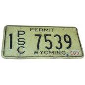 Plaque d'immatriculation Authentique Wyoming 1977