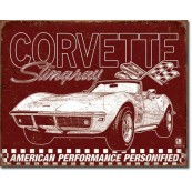 Plaque publicitaire corvette Stingray 1969
