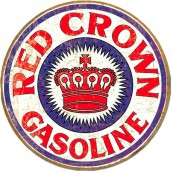 Plaque métal ronde Red Crown Gasoline