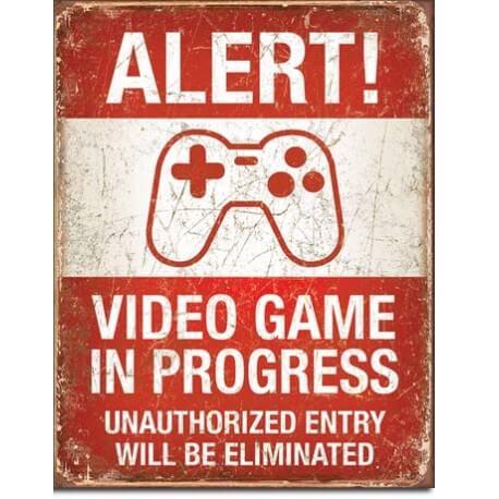 Plaque métal Video Game in Progress