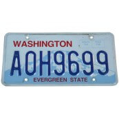 Plaque d'immatriculation Américaine Etat de Washington