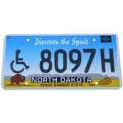 Plaque immatriculation USA North Dakota