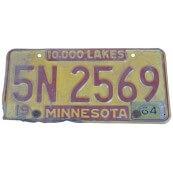 Plaque d'immatriculation Américaine authentique Etat du Minnesota