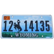 Plaque minéralogique Etat du Wyoming