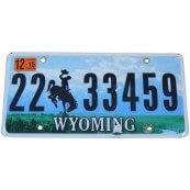 Plaque Immatriculation Américaine Wyoming