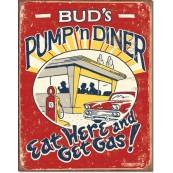 Plaque publicitaire métal Bud's Pump'n Diner