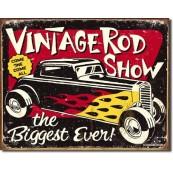 Plaque publicitaire métal Vintage Rod Show