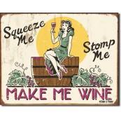 Plaque publicitaire métal Make me wine