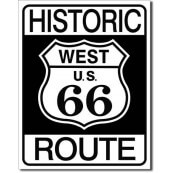 Plaque métal Route 66 Historic West