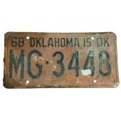 Plaque d'immatriculation Authentique Oklahoma CE-9647