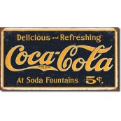 Plaque Coca Cola - 1910 Logo Weathered