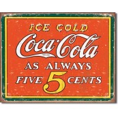 Plaque Coca Cola - Always 5 Cents