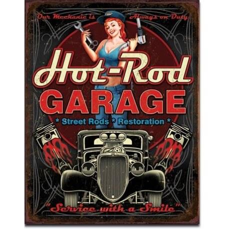plaque m tal d co hot rod garage pistons us way of life. Black Bedroom Furniture Sets. Home Design Ideas
