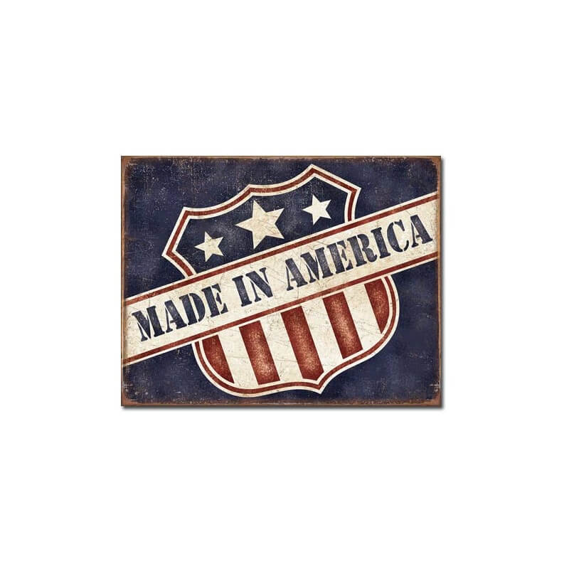 plaque m tal made in america d co am ricaine us way of life. Black Bedroom Furniture Sets. Home Design Ideas