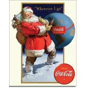 Plaque Coke - Santa Globe