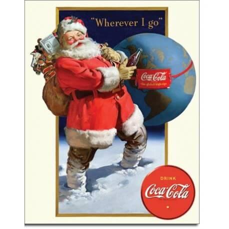 Plaque Coke - Santa Globe