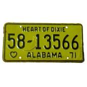Plaque d'immatriculation Authentique Alabama 27.19920