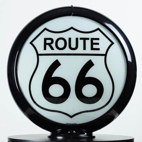 Globe de pompe à essence Opaline Route 66
