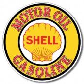 Plaque publicitaire métal ronde Shell gasoline