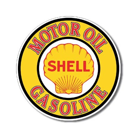 """Plaque publicitaire métal ronde """"Shell gasoline"""""""