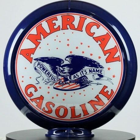 Globe de pompe à essence Opaline American Gasoline