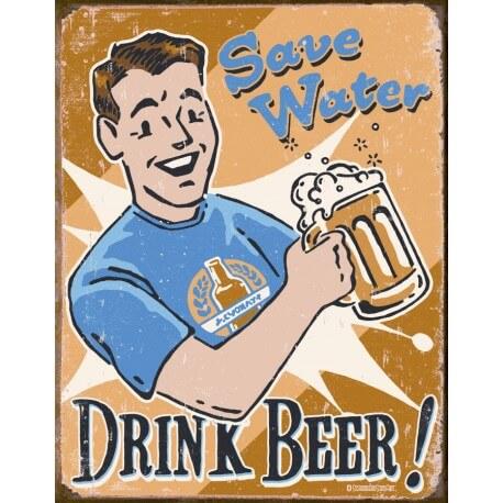"""Plaque publicitaire métal """"Save Water"""""""