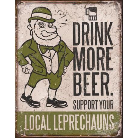 "Plaque publicitaire métal ""Drink more Beer"""