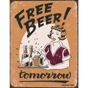 """Plaque publicitaire métal """"Free Beer"""""""